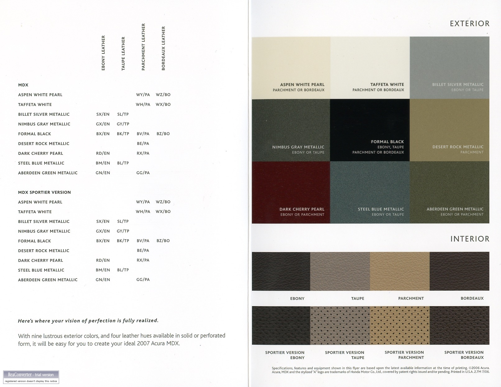 Mdx 07 Color Chart Acura Mdx Forum Acura Mdx Suv Forums