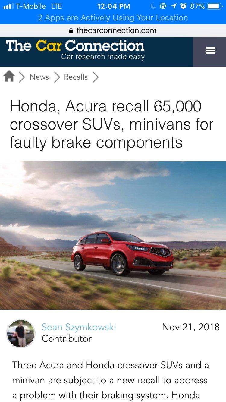 Honda Recalls | Acura MDX SUV Forums